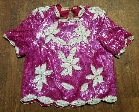 Vintage Sequin Top | Frank Usher Blouse | Statement Piece | 80s Clothing