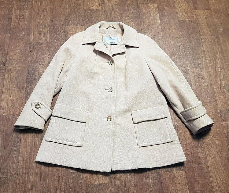1970s Vintage Aquascutum Coat Beige Wool UK Size 14/16