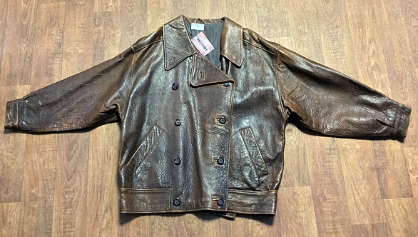 Vintage 1970s Mary Quant Oversize Brown Leather Jacket UK Size 14/16/18