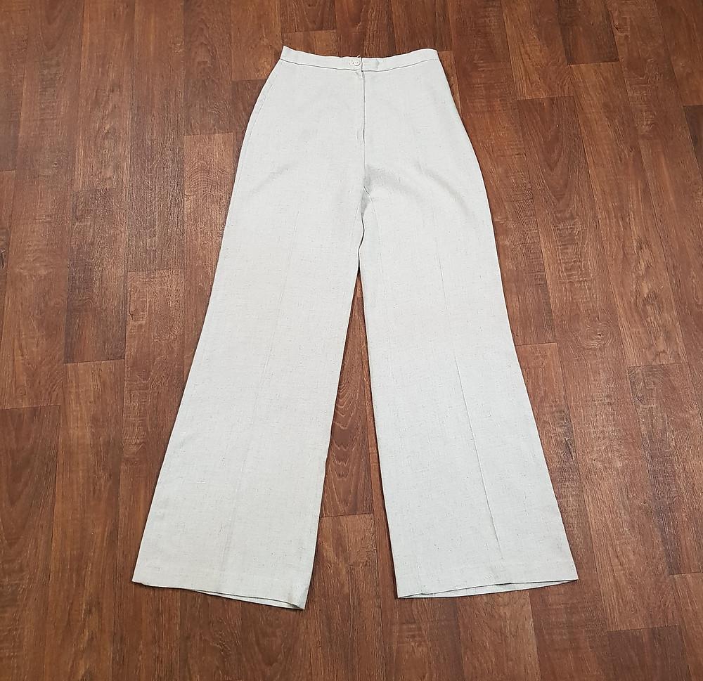 1970s Vintage Oatmeal Wide Leg Trousers Size 8