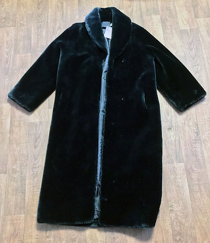 Vintage 1980s Long Black Faux Fur Coat UK Size 12/14