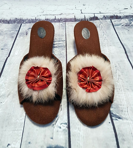 1960s Vintage Brown Feather Boudoir Slippers UK 6/7 EUR 39/40