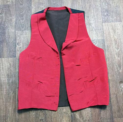 Mens Vintage 1970s Shiny Red Waistcoat UK Size Large