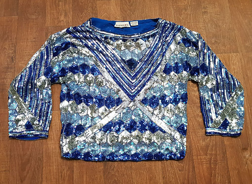 Vintage Sequin Top | Vintage Clothing | 1980s Evening Top | 80s Style
