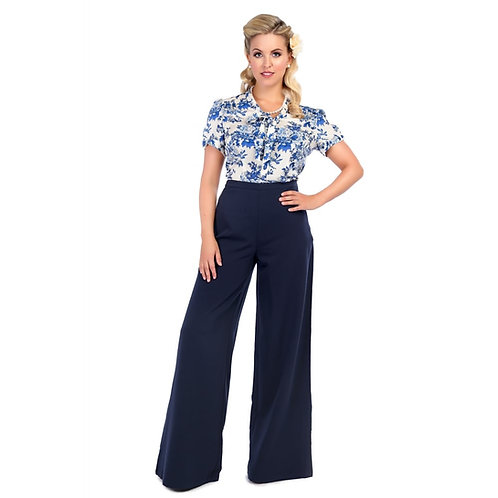Retro Vintage Style Wide Leg Palazzo Trousers Navy