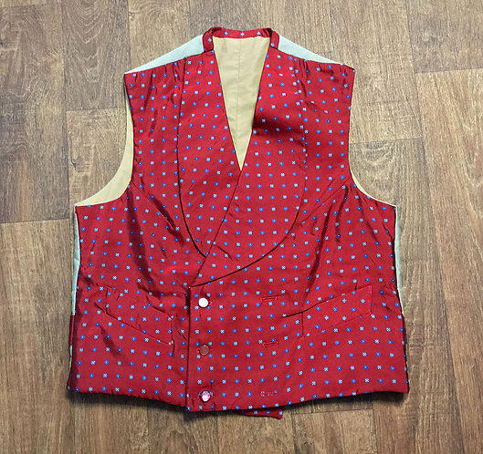 Mens 1970s Vintage Red Patterned Waistcoat UK Size Small