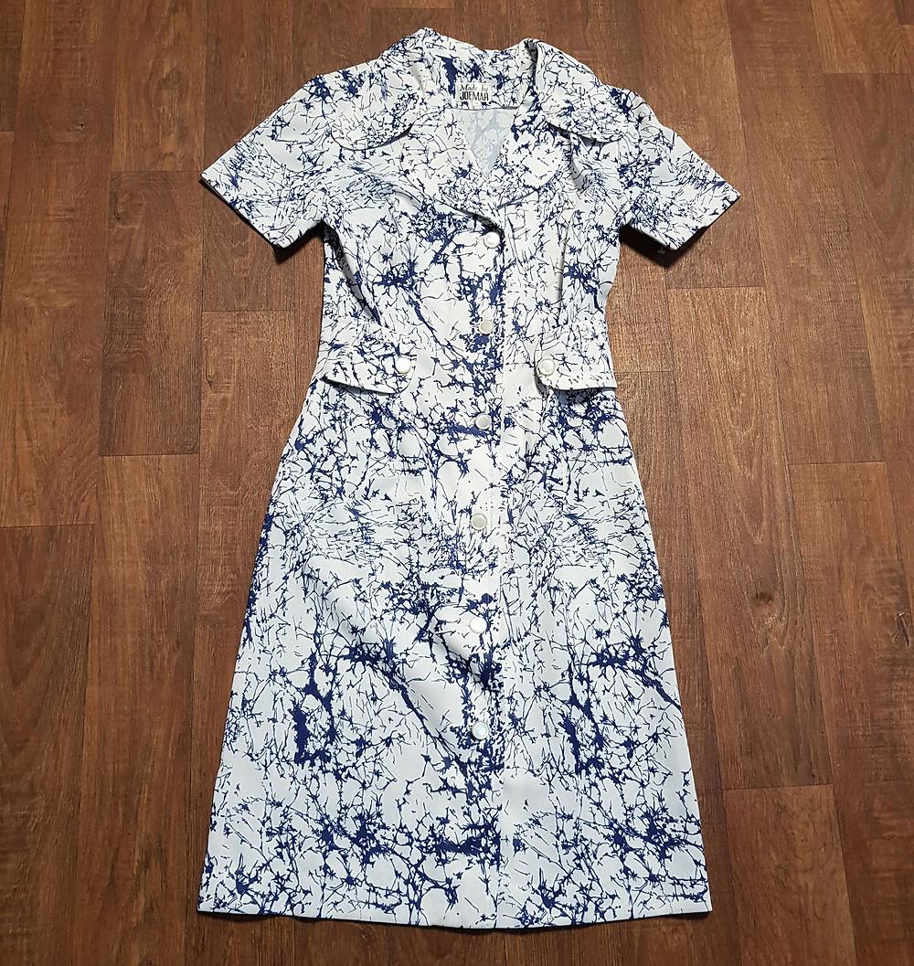 1970s Vintage Splatter Print Shirt Dress UK Size 12