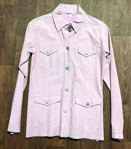 Vintage 1970s Baby Pink Suede Jacket UK Size 10