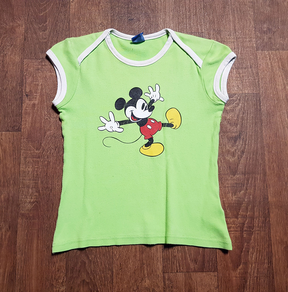 1990s Vintage Lime Green Mickey Mouse Tee UK Size 8