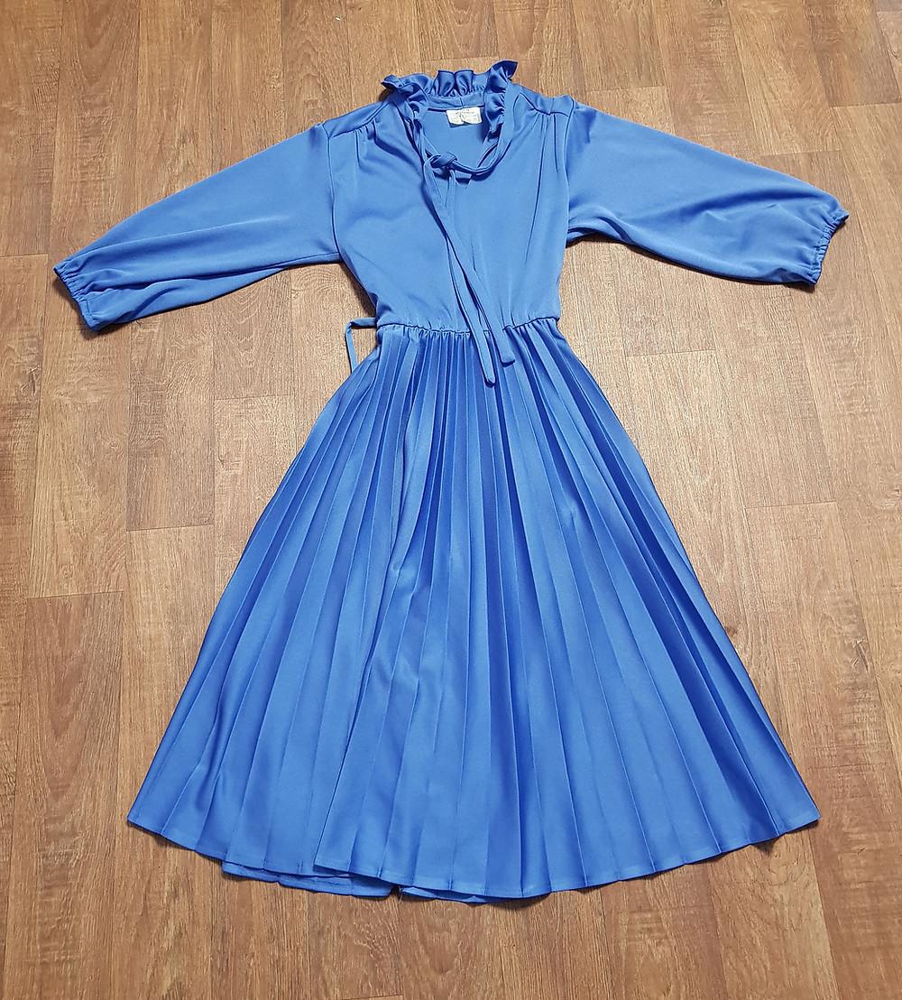 1970s Vintage Blue Ruffled Midi Dress UK Size 12