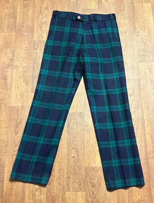 Mens 1970s Vintage Green/Navy Tartan Trousers 32W 33L
