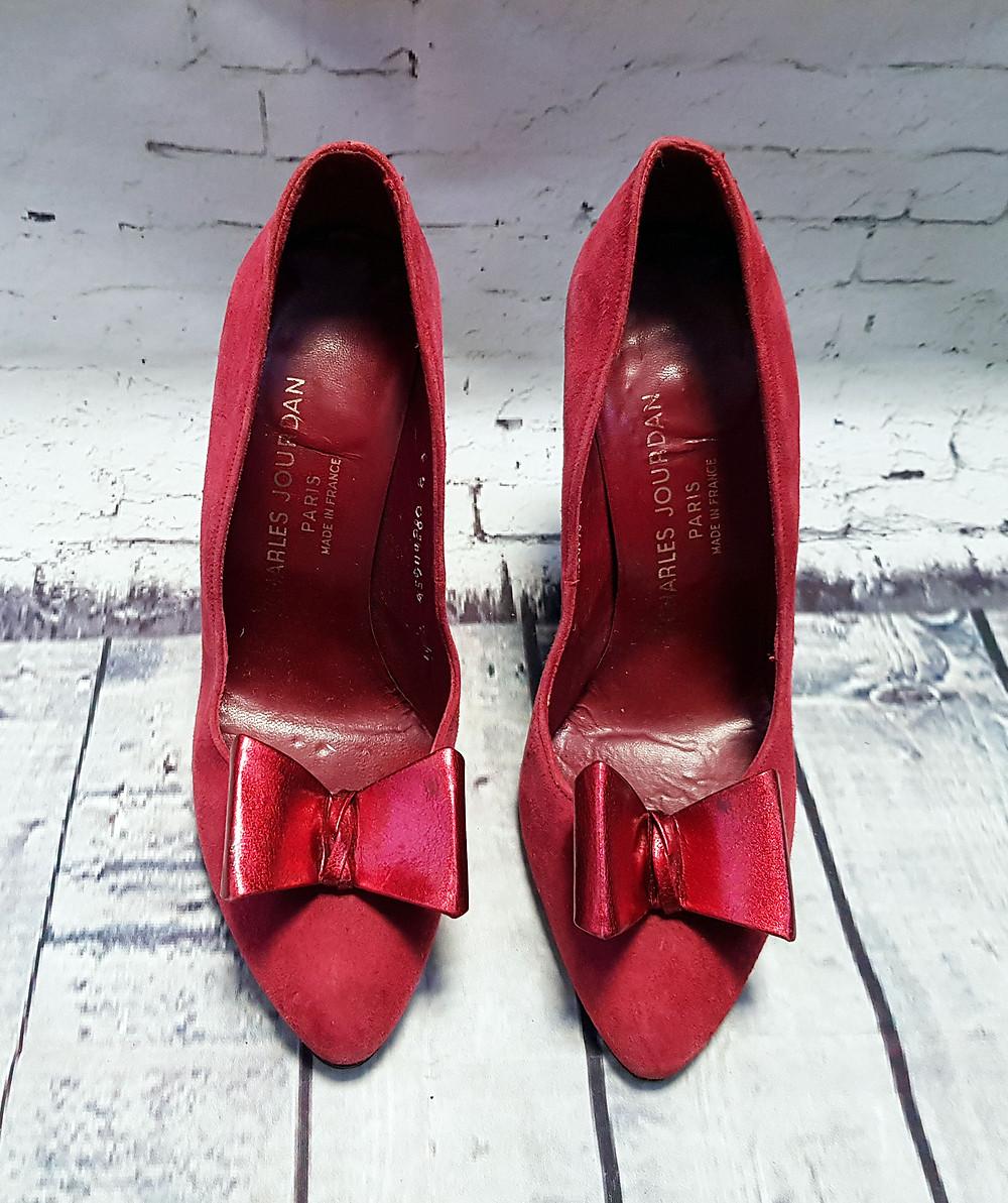 50s/60s Vintage Charles Jourdan Red Suede Stiletto Shoes UK 4/EUR 37