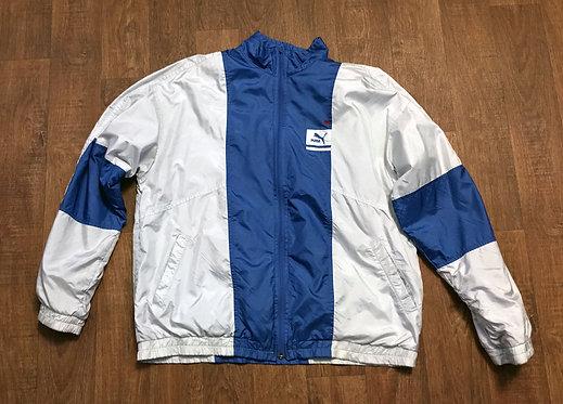 Mens Vintage 1980s Blue & Silver Puma Track Top UK Size Large