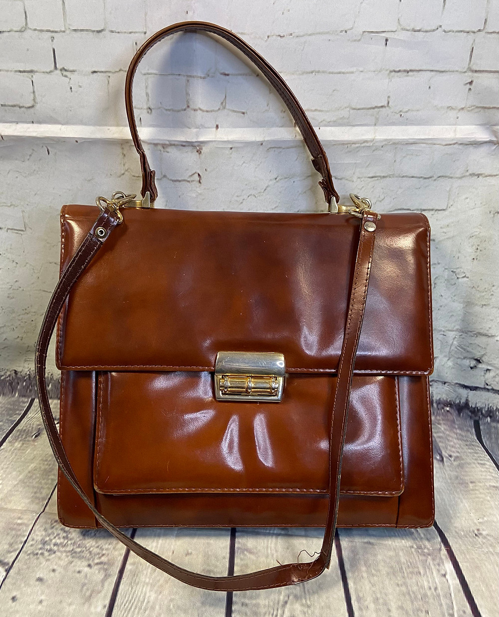 1970s Vintage Tan Leather Satchel Bag £32