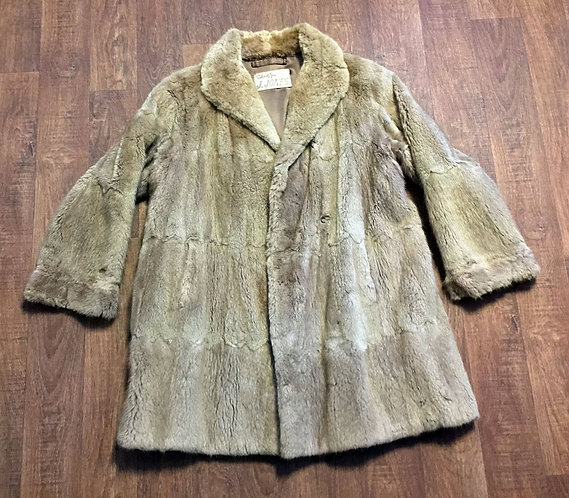 Vintage 1960s Golden Beige Musquash Fur Coat UK Size 14/16