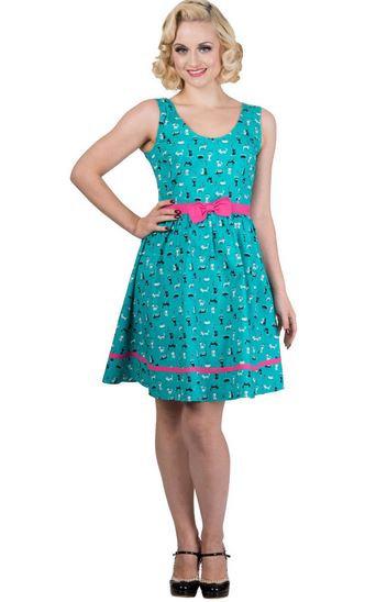 Cute Retro Turquoise Cat Print Dress