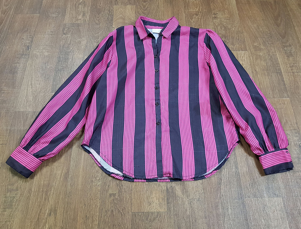 1980s Vintage Pink Bold Stripe Shirt Size 14
