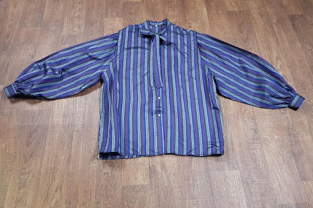 1970s Vintage Purple Bold Stripe Blouse Size 14/16