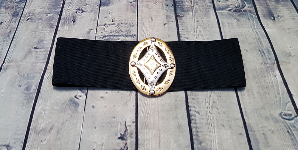 1980s Vintage Stretch Belt with Large Gold & Silver Buckle UK Size 10/12/14/16