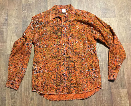 Mens Vintage 1970s Orange Bold/Abstract Print Shirt UK Size Large