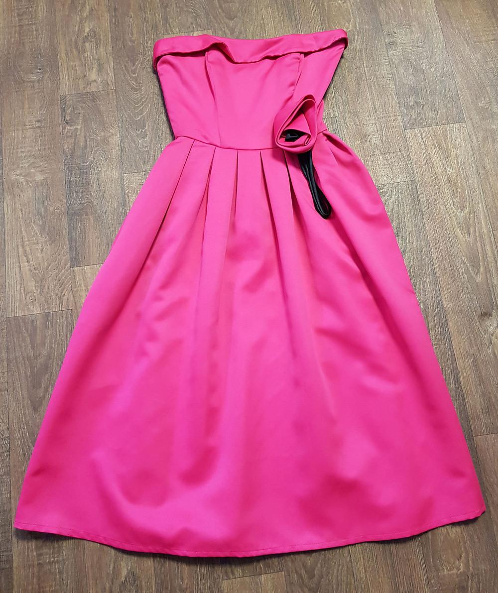 Vintage 1980s Bright Pink Corsage Prom Dress UK Size 8
