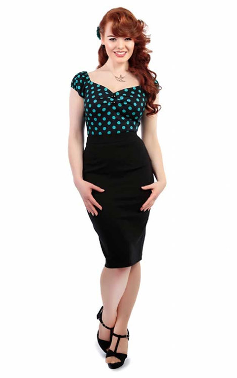 Retro Vintage Style Polly Black Pencil Skirt