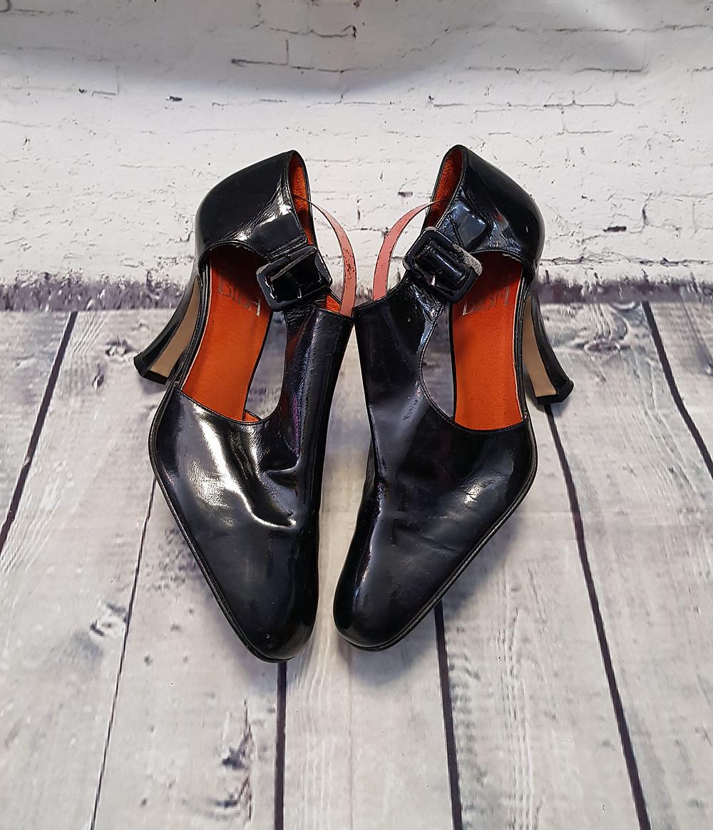 Original Vintage Biba Black Patent Heels/Shoes UK 4 (EUR 37)