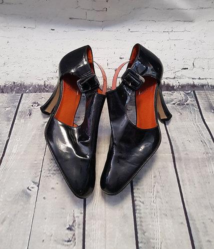 Vintage Heels | Designer Shoes | 70s Biba Shoes | Patent Shoes