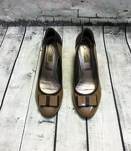 Vintage Taupe Patent Heels With Bow UK5 EUR38