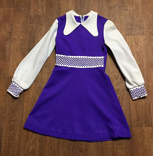 Original 1970s Vintage Purple Collared Mini Dress UK Size 8