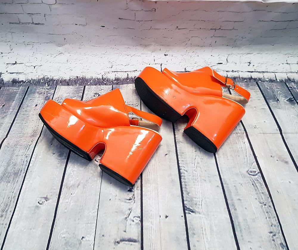 Original 1970s Vintage Orange Platform Heels UK 5/EUR 38