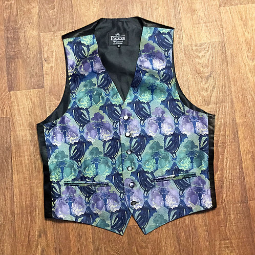 Mens Vintage 1970s Green/Blue Floral Waistcoat Size Medium