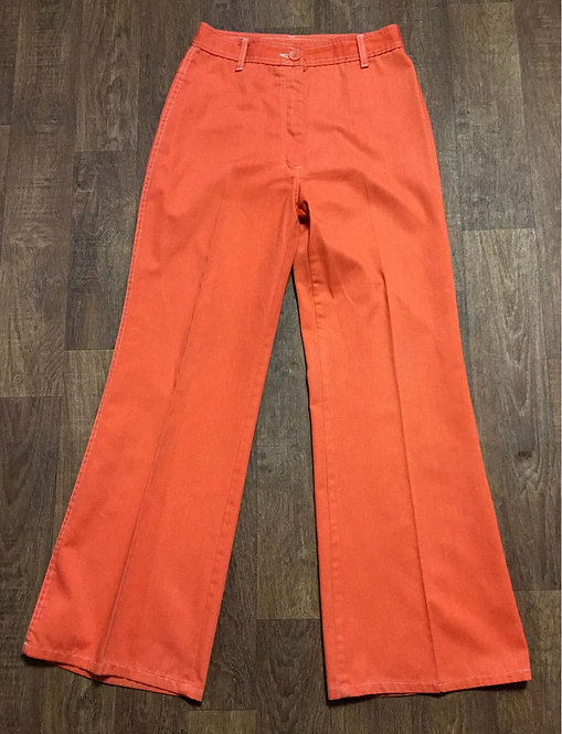 1970s Vintage Orange Flared Jeans/Trousers UK Size 10/12