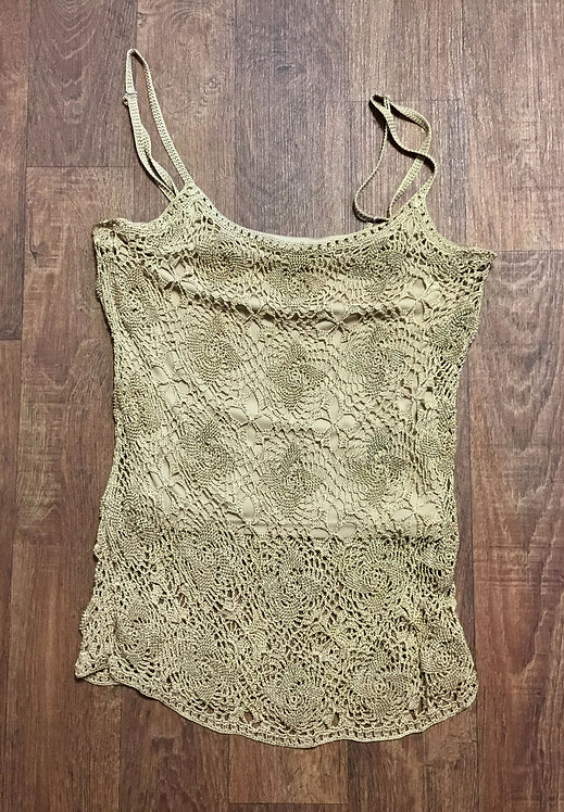 Vintage 1980s Gold Beaded/Crochet Evening Top UK Size 8/10