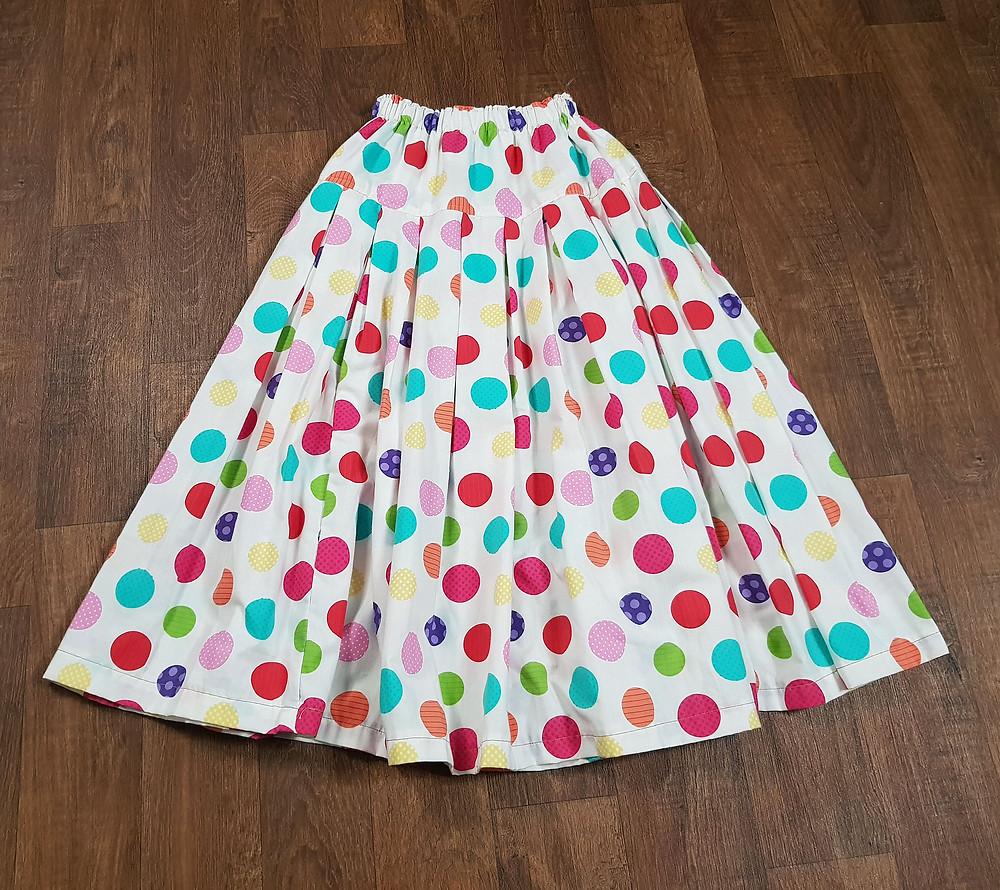 1980s Vintage Bright Spotty Skirt Size 6/8/10
