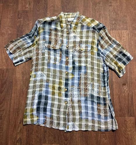 1980s Vintage Animal Print Patchwork Silky Shirt UK Size 14/16