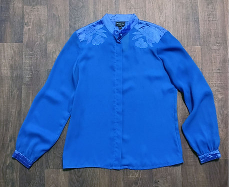 Vintage 1980s Blue Jacques Vert Blouse UK Size 12
