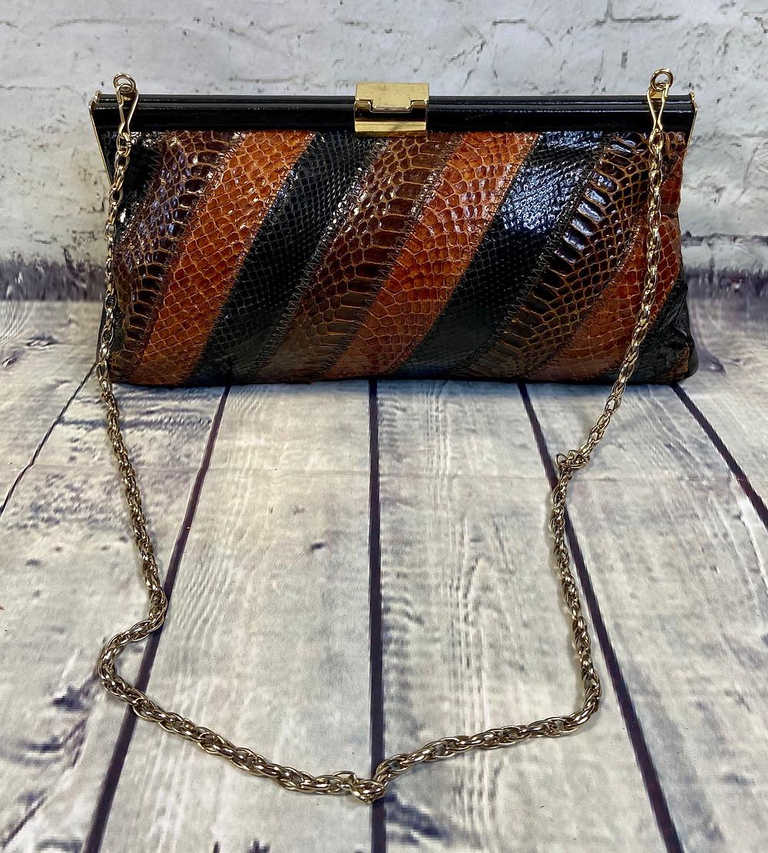 1970s Vintage Jane Shilton Black Snake Clutch Bag