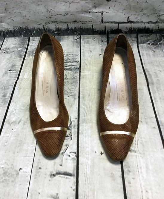 Vintage 80s Italian Bruno Magli Curved Heel Court Shoes UK4 EUR37