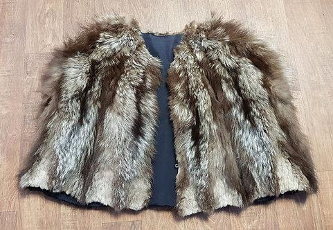 Vintage Cape | 1940s Fur Cape | Racoon Fur Cape | Vintage Clothing