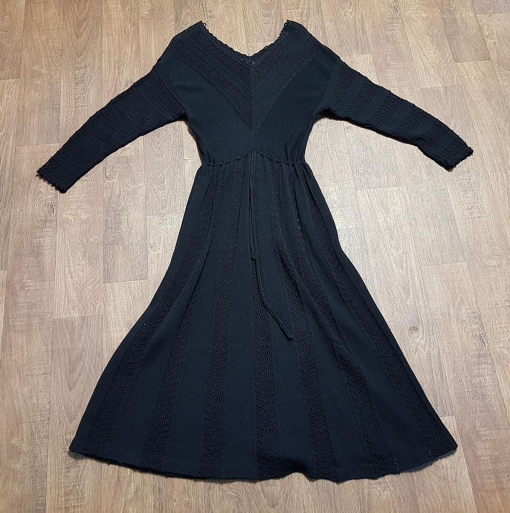 1970s Vintage Black Crochet Midi Dress UK Size 12 £38