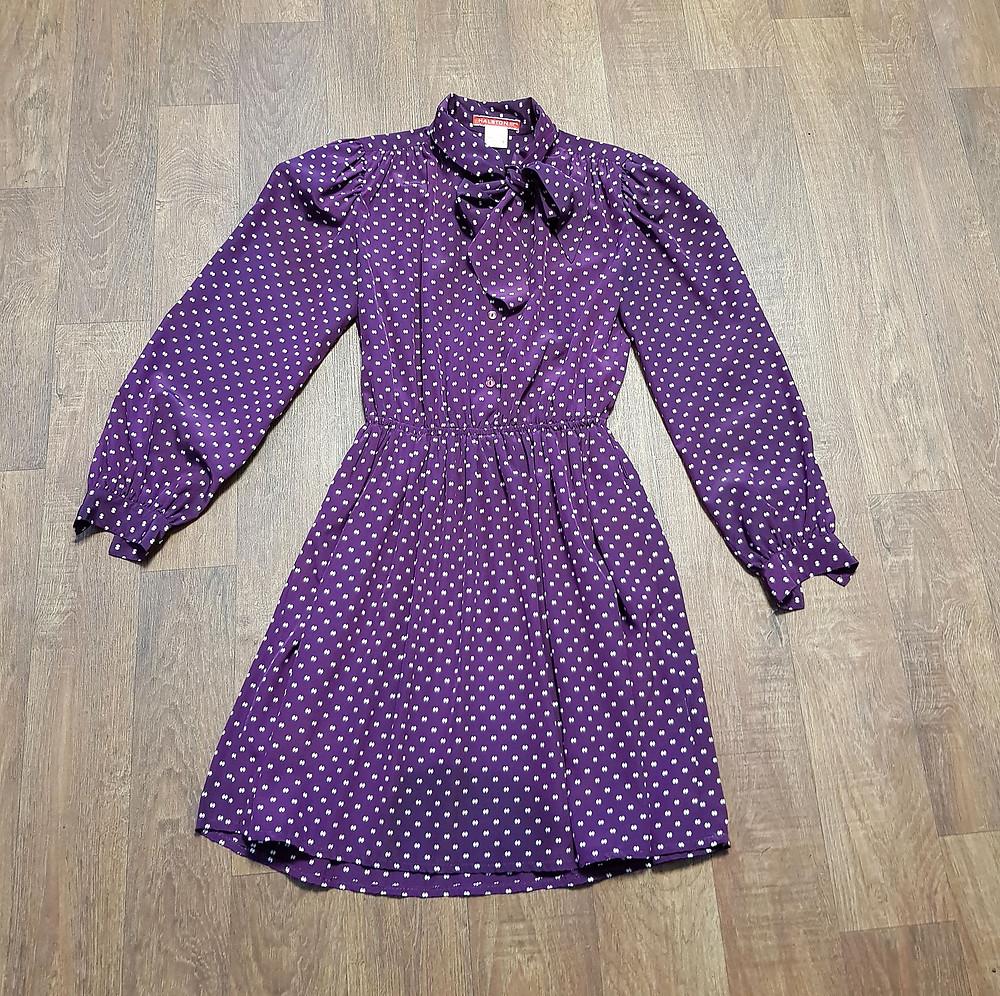1970s Vintage Halston III Purple Mini Dress UK Size 10/12