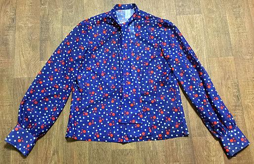 Vintage Blouse   70s Style   Vintage Polka Dot Blouse   Retro Shirt