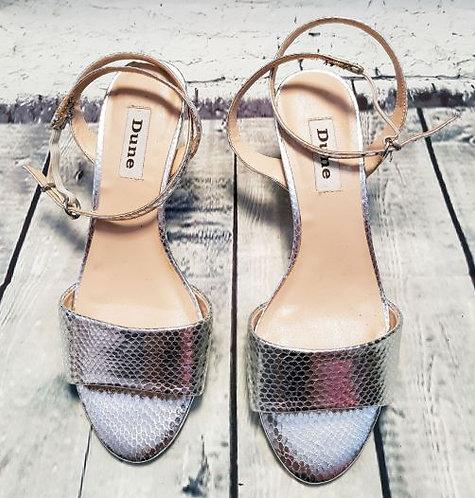 Retro Dune Silver Snake Effect Block Heel Sandals UK5 EUR38