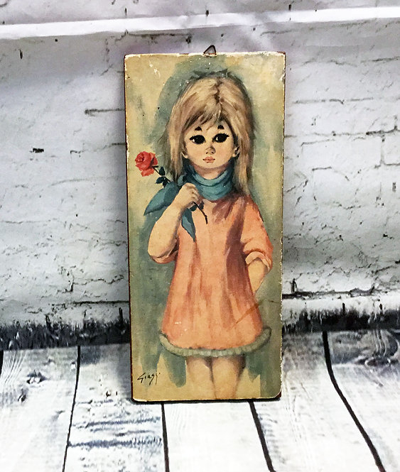 Original 1970s Vintage Girl with Rose Wooden Plaque/Picture