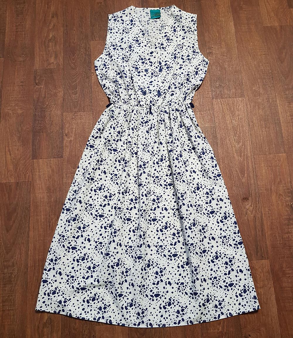 1970s Vintage Splatter Print Midi Dress UK Size 12