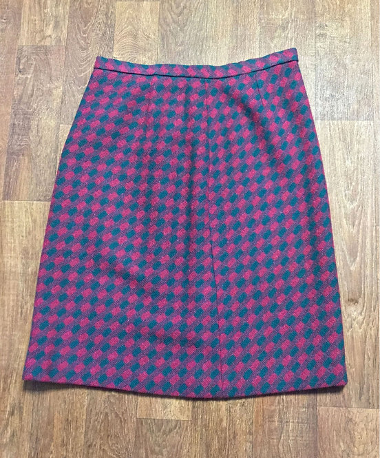 Vintage 1940s Green and Maroon Checked Wool Skirt UK Size 16