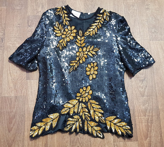 Vintage Sequin Top | Vintage Clothing | Frank Usher Sequin Top | 80s Style