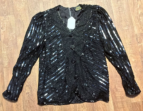 Vintage 1980s Gina Bacconi Black Silk Sequin Evening Top UK 10/12
