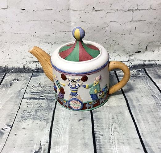 Vintage Teapot | Retro Teapot | Circus Teapot | Strongman Teapot